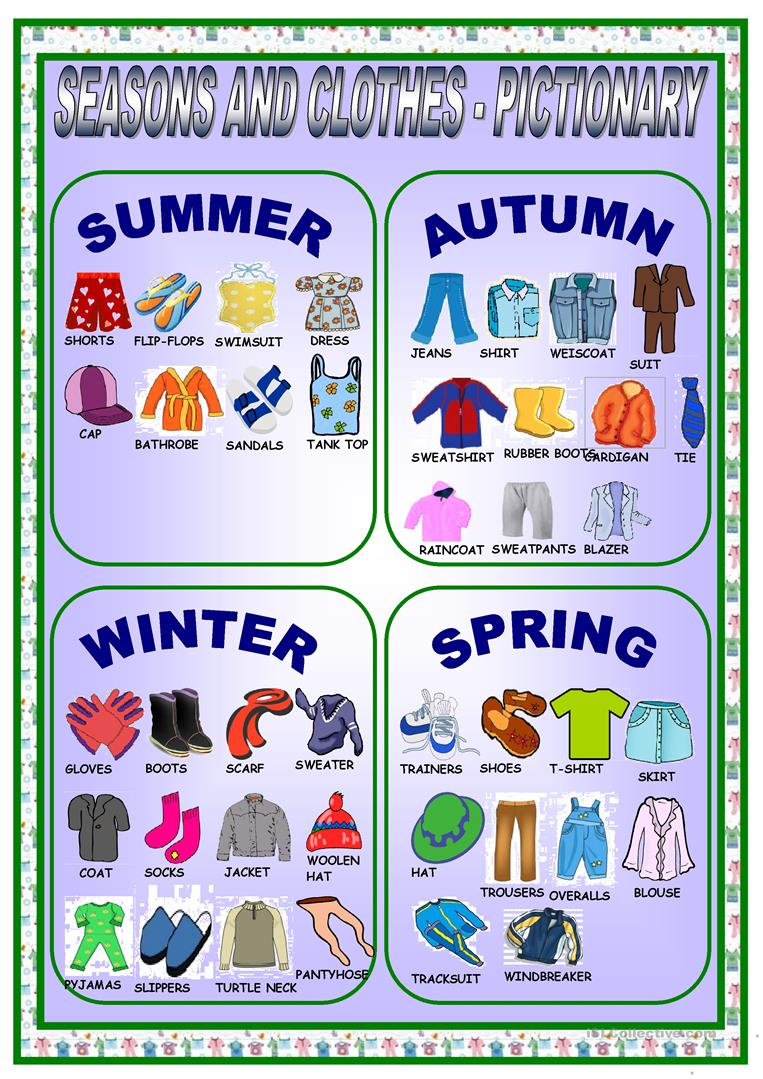 Uncategorized Seasons Worksheets clothes and seasons pictionary worksheet free esl printable full screen