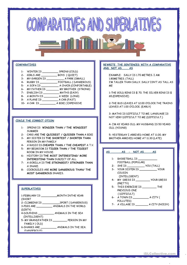 643 FREE ESL Comparison comparative and superlative worksheets – Comparative Superlative Worksheet