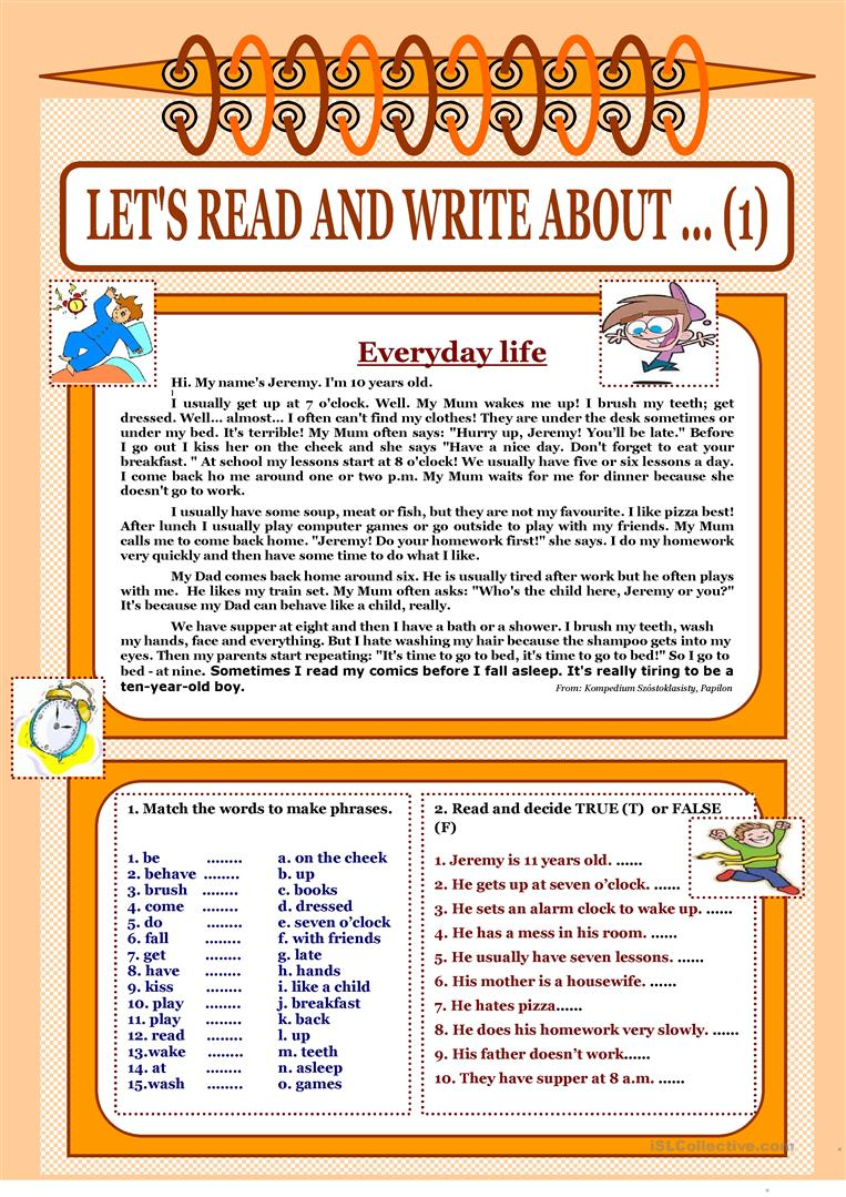 Let's read and write about     (1) - Everyday Life worksheet - Free