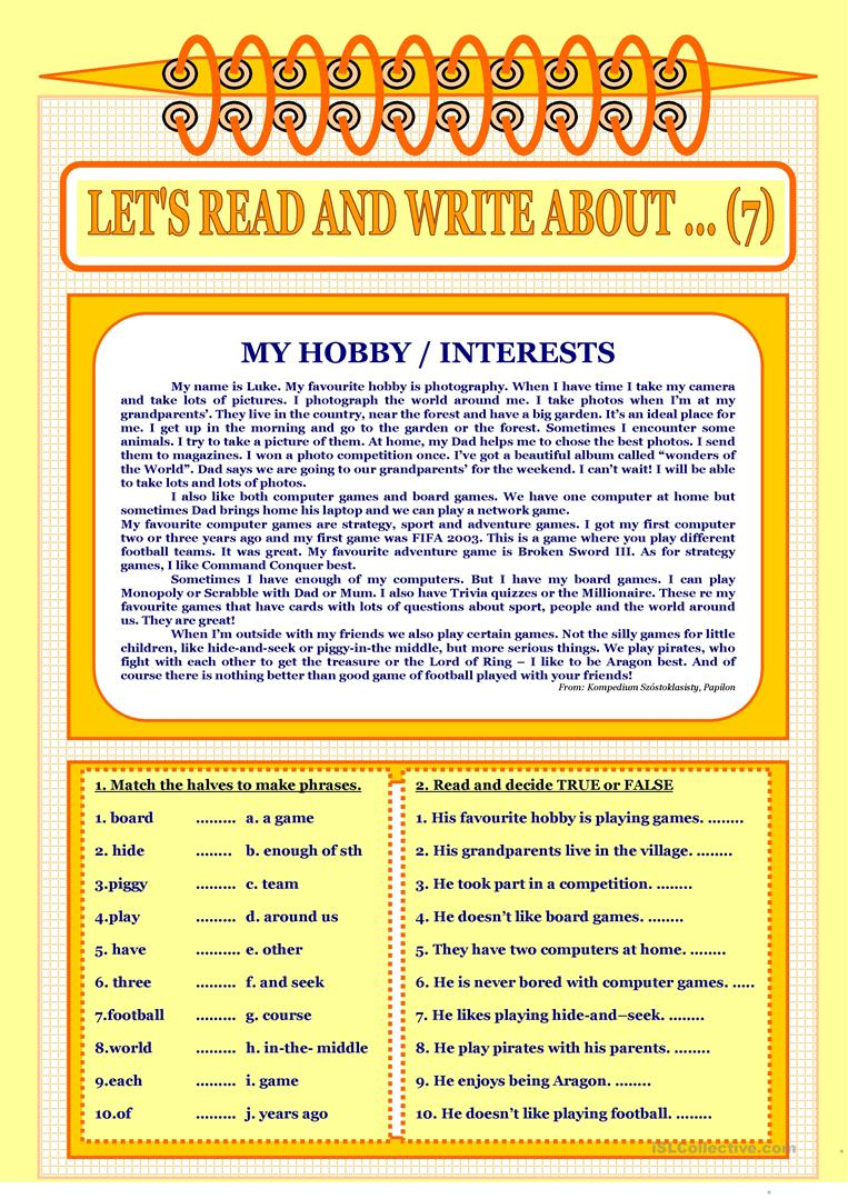 essay on my favourite hobby reading Writing sample of essay on a given topic favorite hobby.