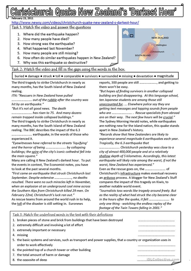 Worksheets Earthquake Worksheet 15 free esl earthquake worksheets new zealand earthquake