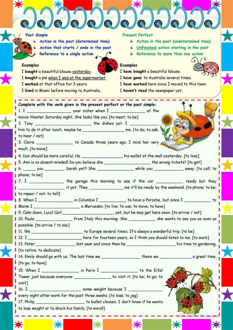 Present Perfect Vs Past Simple Grammar Rules Examples Exercises 2 Pages Keys Included Editable English Esl Worksheets For Distance Learning And Physical Classrooms