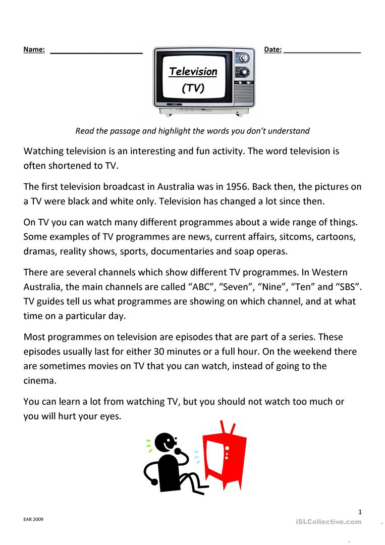 - Television Reading And Comprehension - English ESL Worksheets For