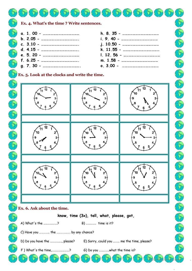 Telling time worksheets in english 8259471 - aks-flight.info