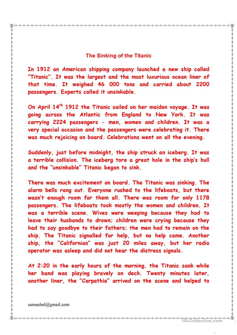 worksheet Titanic Worksheets the sinking of titanic worksheet free esl printable worksheets full screen