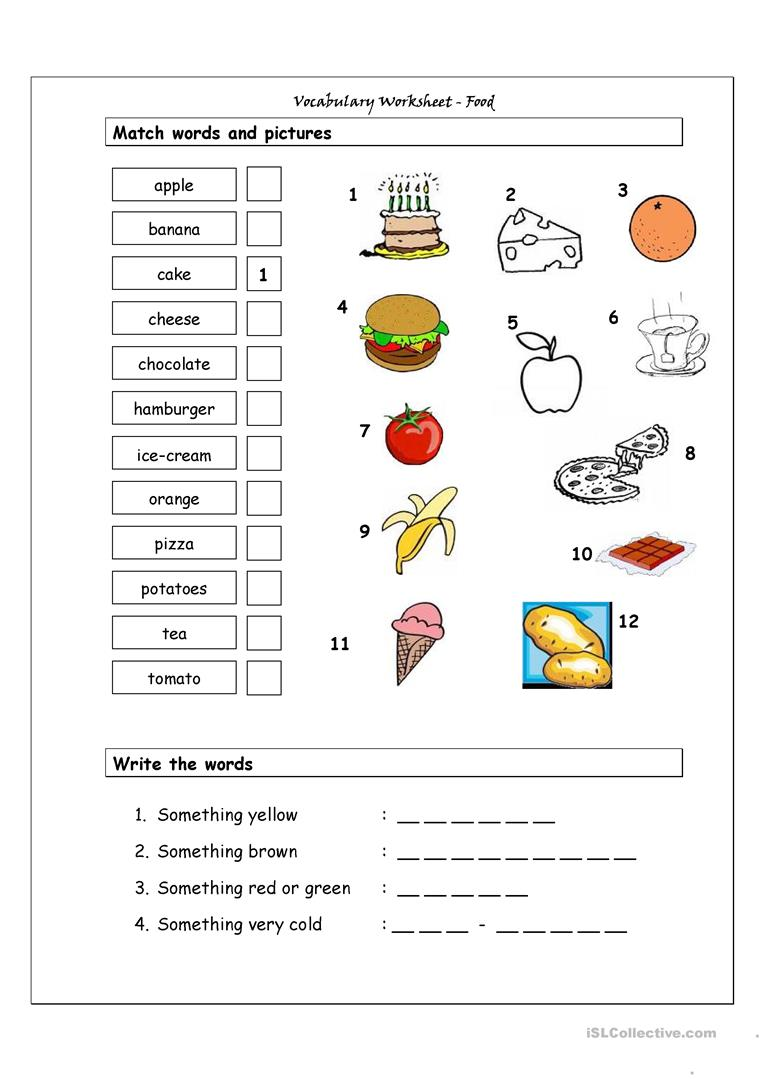 vocabulary matching worksheet food worksheet free esl printable worksheets made by teachers. Black Bedroom Furniture Sets. Home Design Ideas