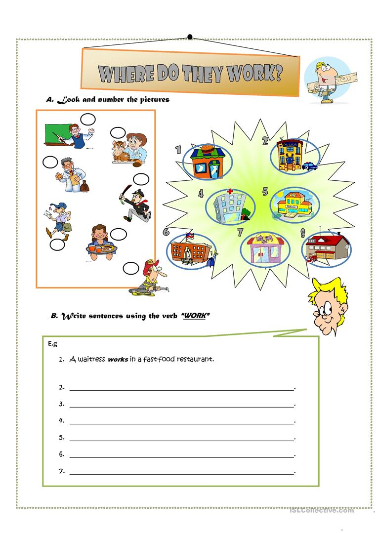 WHERE DO THEY WORK?? - English ESL Worksheets