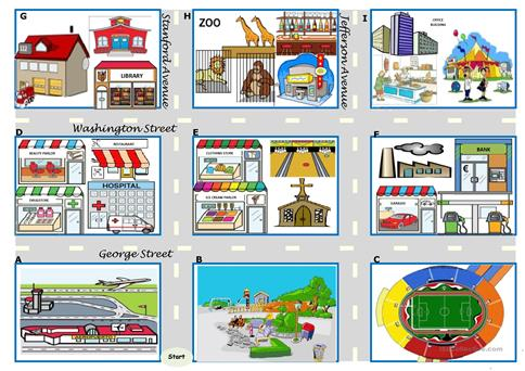 asking for directions there be prepositions directions map boardgame