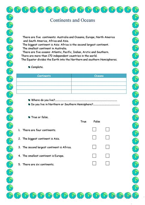 Continents And Oceans Worksheet Free Esl Printable Worksheets Made