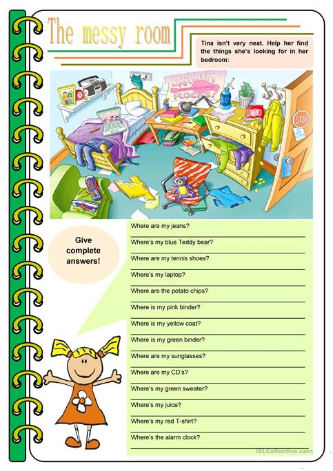 The messy room – there be, prepositions, to be [4 tasks] KEYS ...
