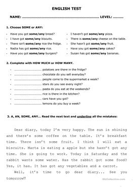 English ESL SOME or ANY worksheets - Most downloaded (141
