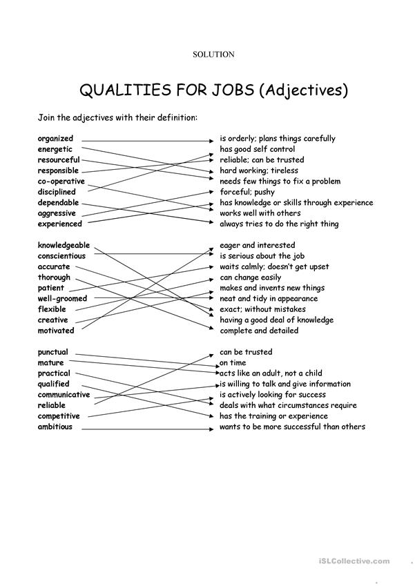 Adjectives for jobs