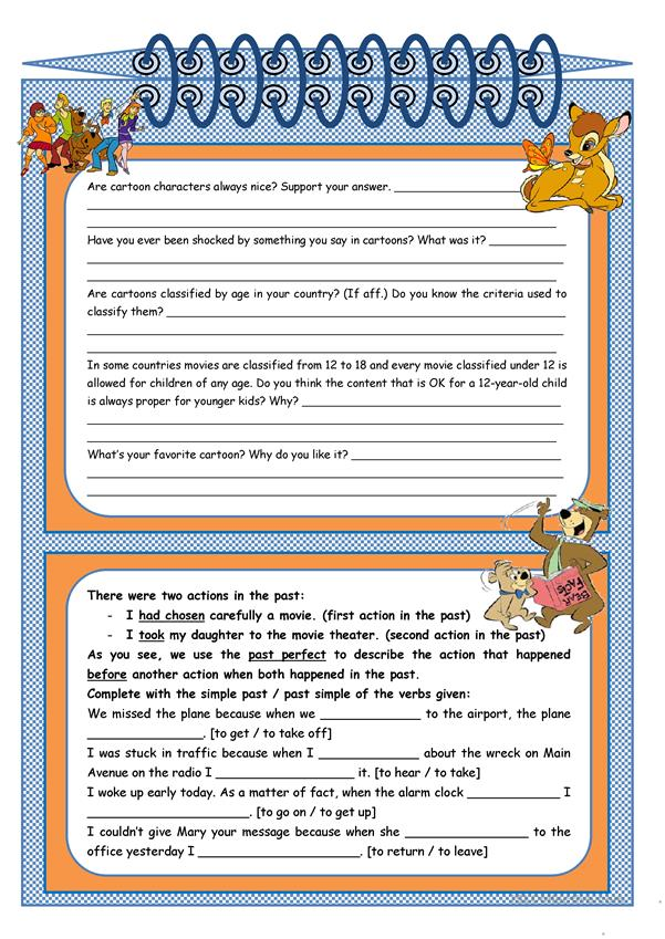 Are cartoons always nice? – comprehension, grammar (past perfect – rules, examples, exercises), suggestion of oral activities [3 tasks + 6 suggestions] KEYS INCLUDED ((3 pages)) ***editable