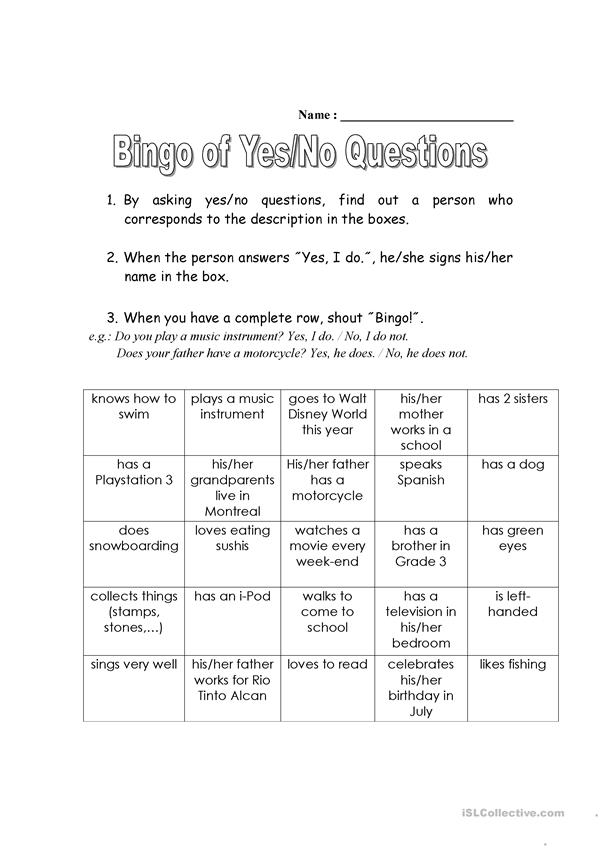 Bingo of Yes-No Questions