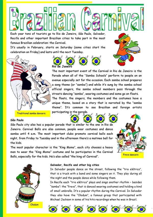 Brazilian Carnival – text, pictures, comprehension, links to videos [short texts + 3 tasks] KEYS INCLUDED {{4 pages)) ***editable