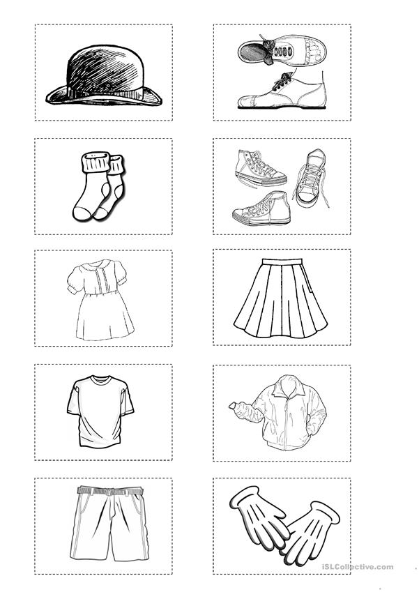 Clothes: 18 mini flashcards/match-up game