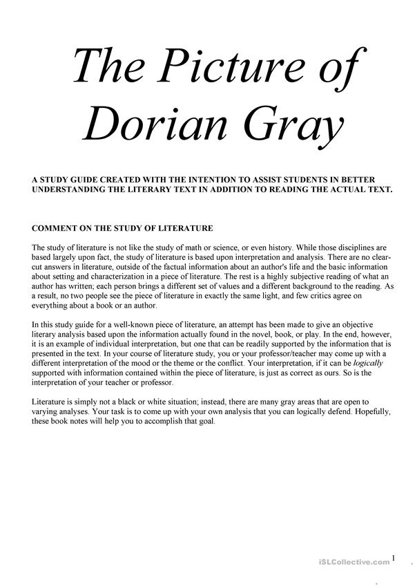 dorian gray study guide