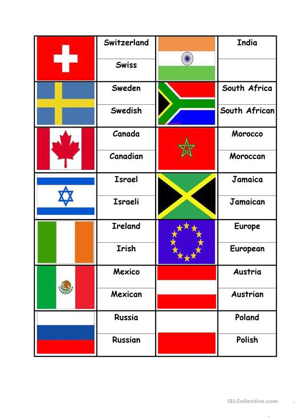 Flags Countries Nationalities, matching activity