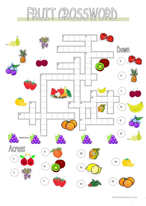 FRUIT CROSSWORD and KEY
