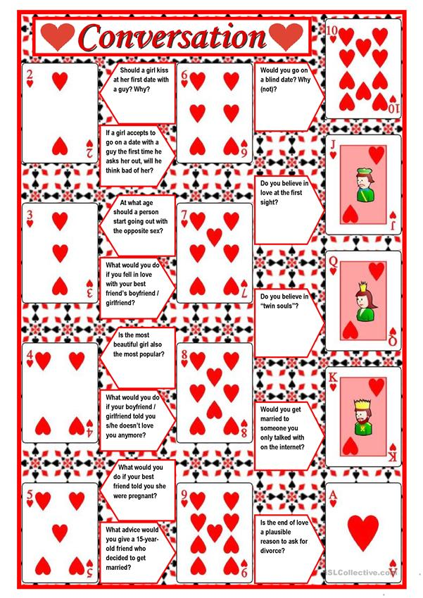 Playing cards + conversation (game) – 4 pages with questions + directions ((5 pages)) ***editable