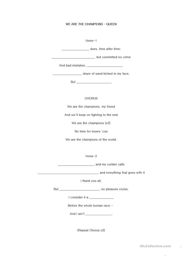 Queen - We Are The Champions Listening and Vocab Worksheet