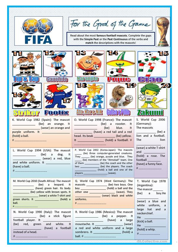 TENSE - PAST SIMPLE - PAST CONTINUOUS WITH FIFA MASCOTS