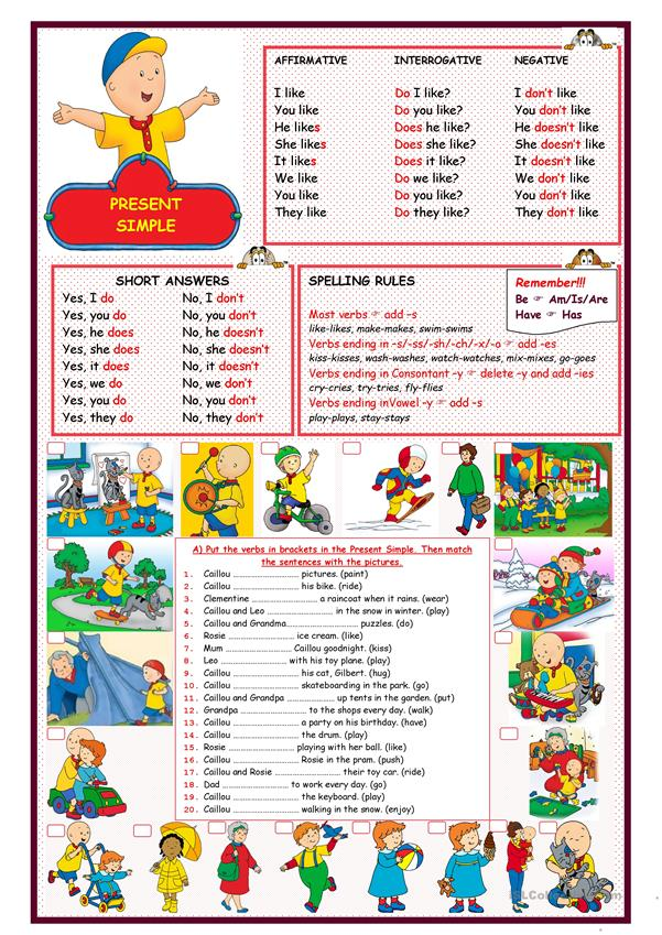 TENSES - PRESENT SIMPLE WITH 'CAILLOU'