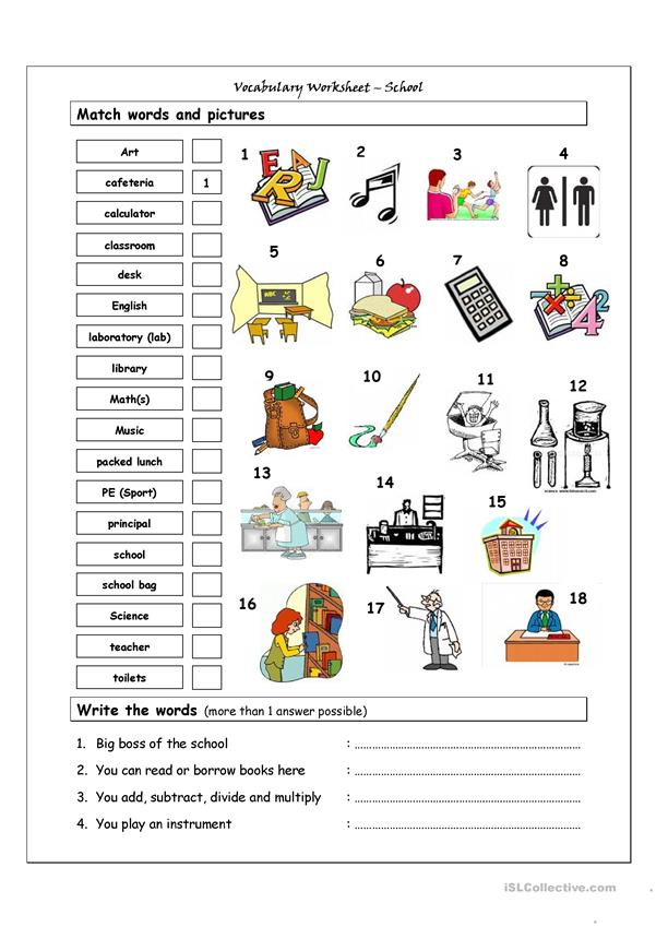 Vocabulary Matching Worksheet - SCHOOL