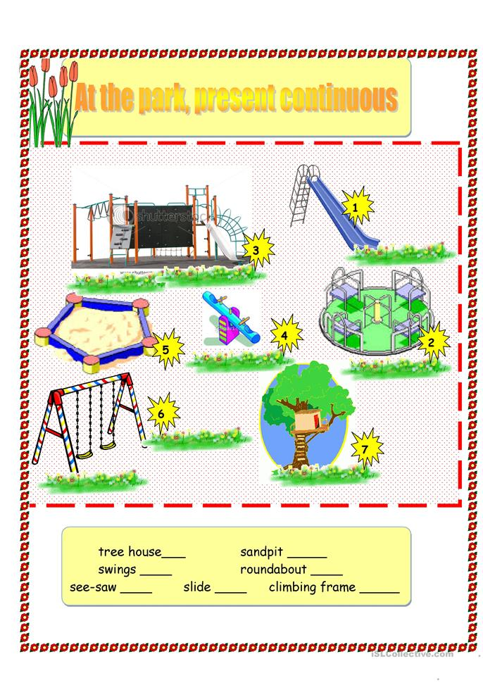 At the park, present continuous (2 sheets) worksheet ...