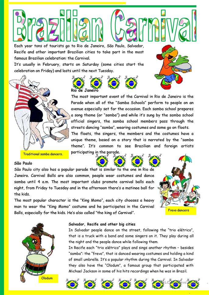 Brazilian Carnival – text, pictures, comprehension, links to videos [short texts + 3 tasks] KEYS INCLUDED {{4 pages)) ***editable | FREE ESL worksheets