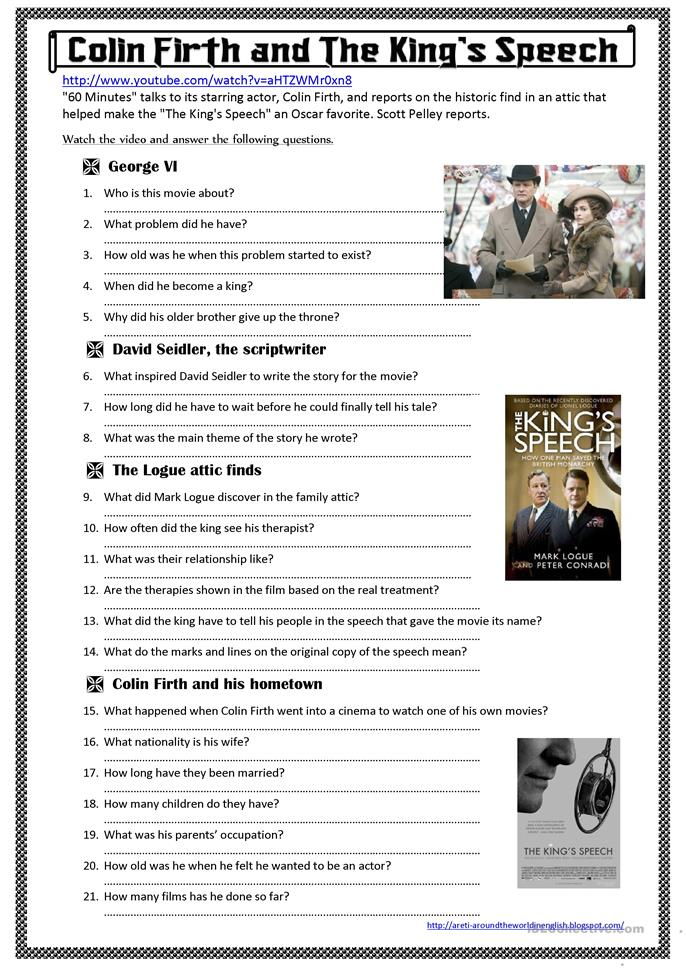 Colin Firth and The King's Speech (a video activity) - ESL worksheets