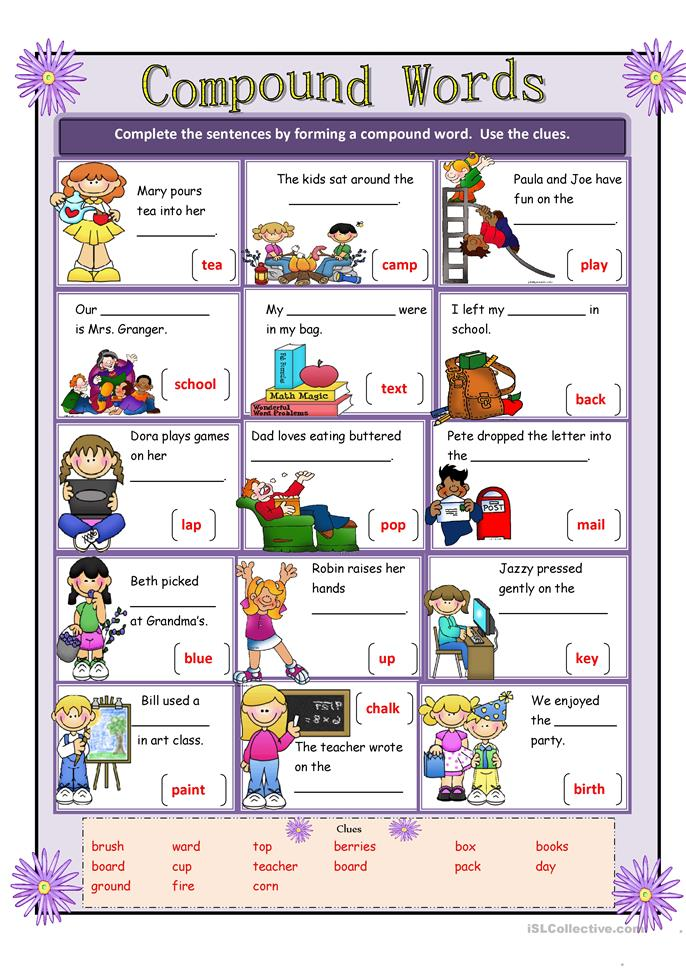 Compound Words worksheet - Free ESL printable worksheets made by ...