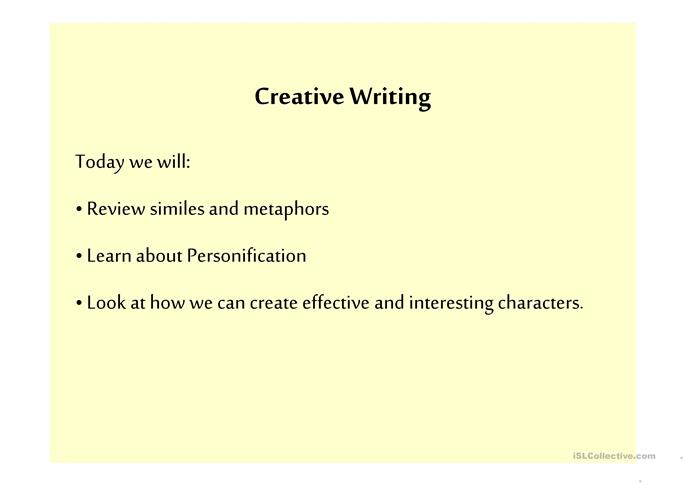 Exercises for creative writing classes