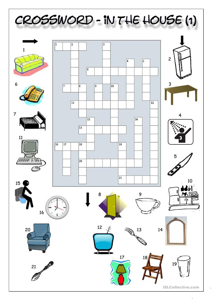 Crossword - In the house (1) worksheet - Free ESL ...