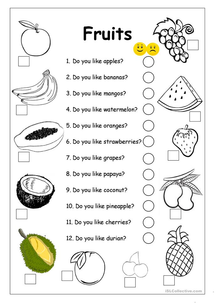 Do you like apples? - FRUITS worksheet - ESL worksheets