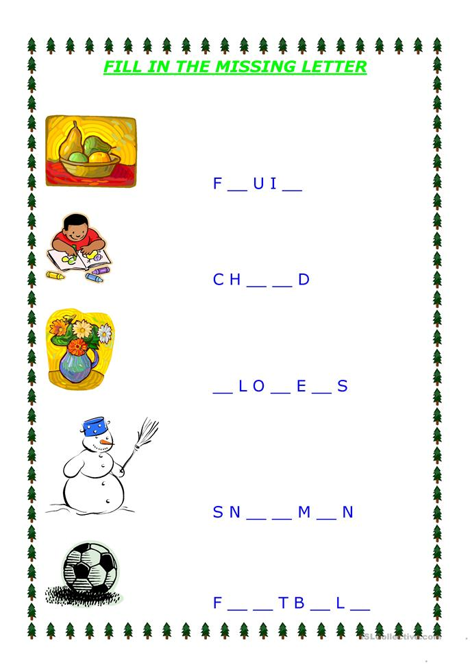 Number Names Worksheets fill in the missing letters : 12 FREE ESL missing letters worksheets