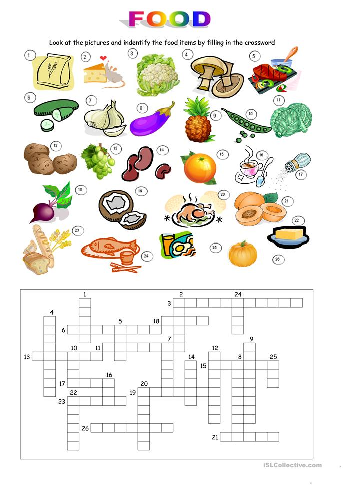 Food Crossword - ESL worksheets
