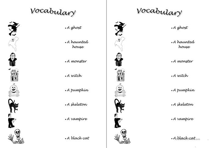 11 FREE ESL Halloween vocabulary worksheets