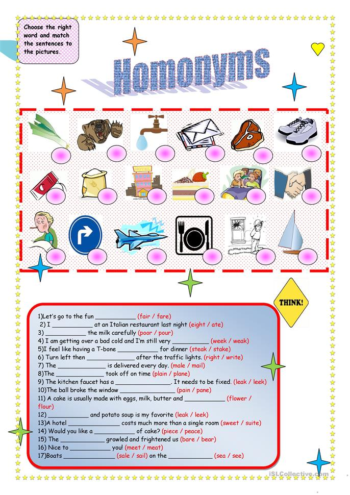 Homonyms - ESL worksheets