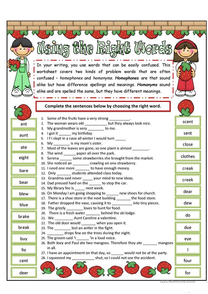 Homophones and Homonyms - ESL worksheets