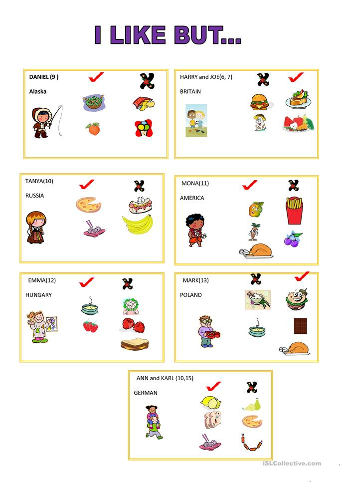 I like but.. -Speaking card - ESL worksheets