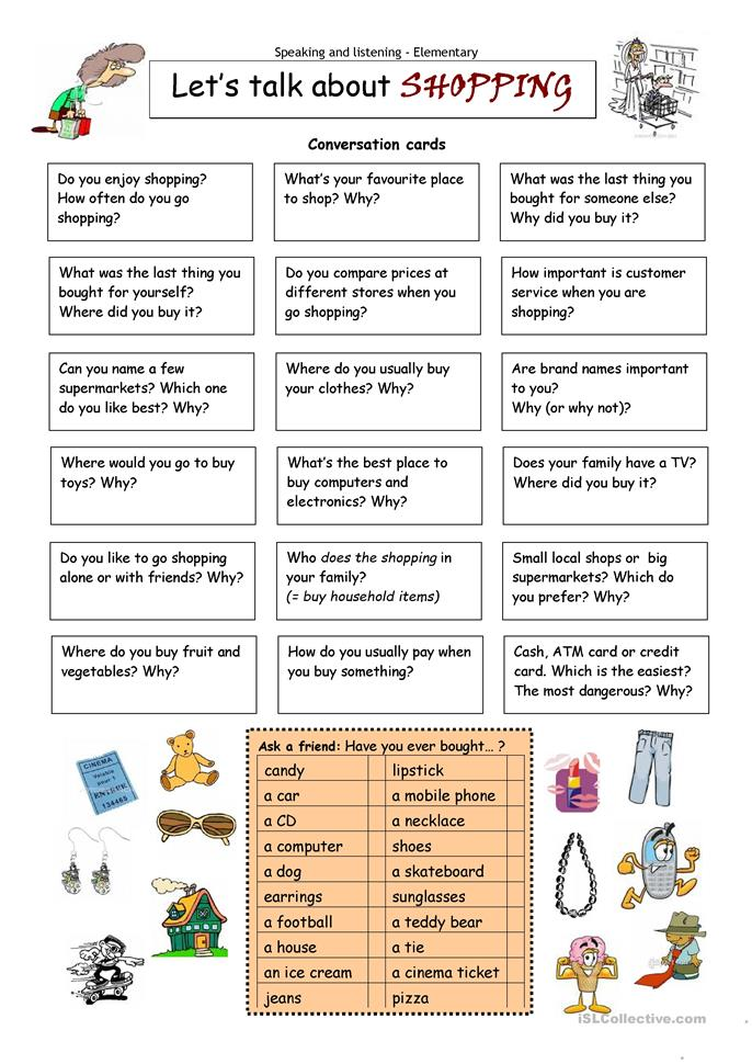 Let´s talk about SHOPPING - ESL worksheets