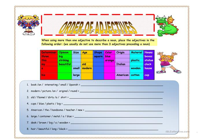 big_4079_order_of_adjectives_key_included_1 Worksheet About Adjective Order on sixth grade, 3rd grade, esl basic, high school, 4th grade free, noun verb, writing sentences,