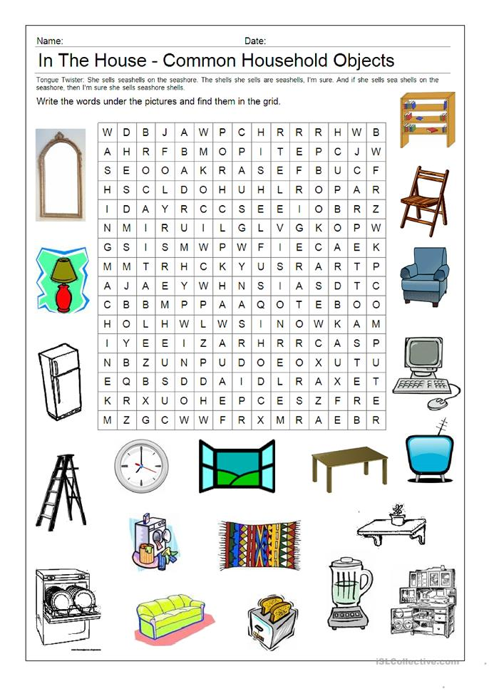 Picture Word Search In The House Worksheet Free Esl