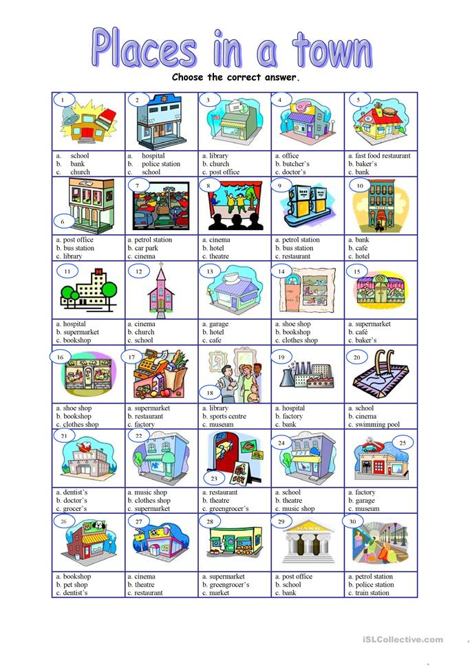 Places in a town - mul... - ESL worksheets