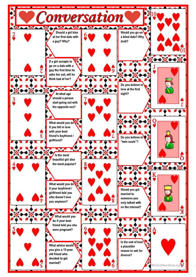 Playing cards + conversation (game) – 4 pages with questions + dire... - ESL worksheets