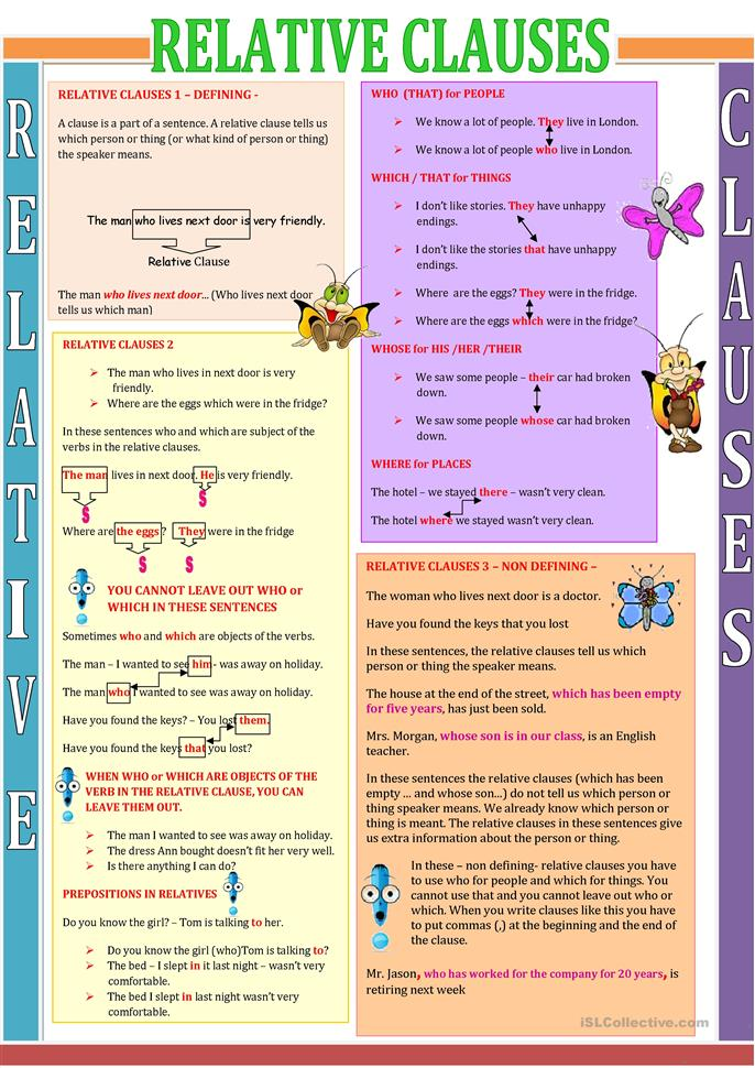 Relative clauses worksheets with answers pdf
