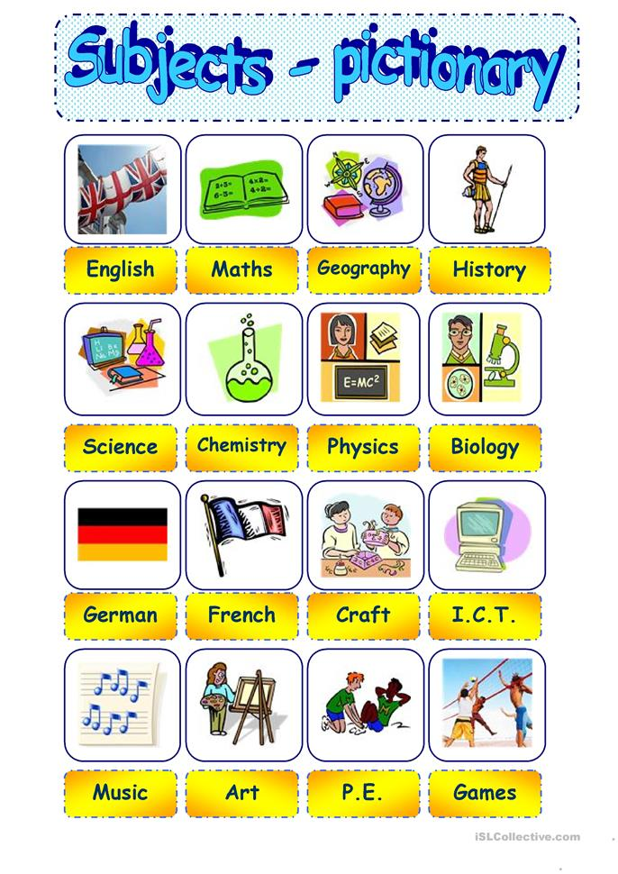 97 FREE ESL school subjects worksheets