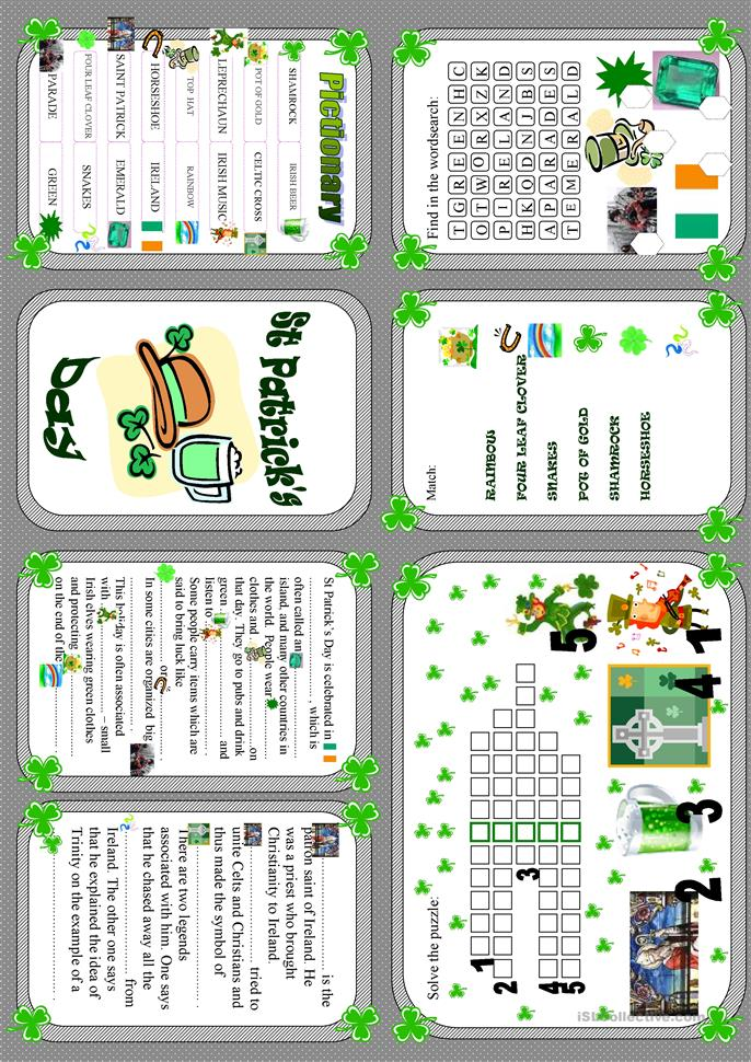St Patrick's Day - minibook - ESL worksheets