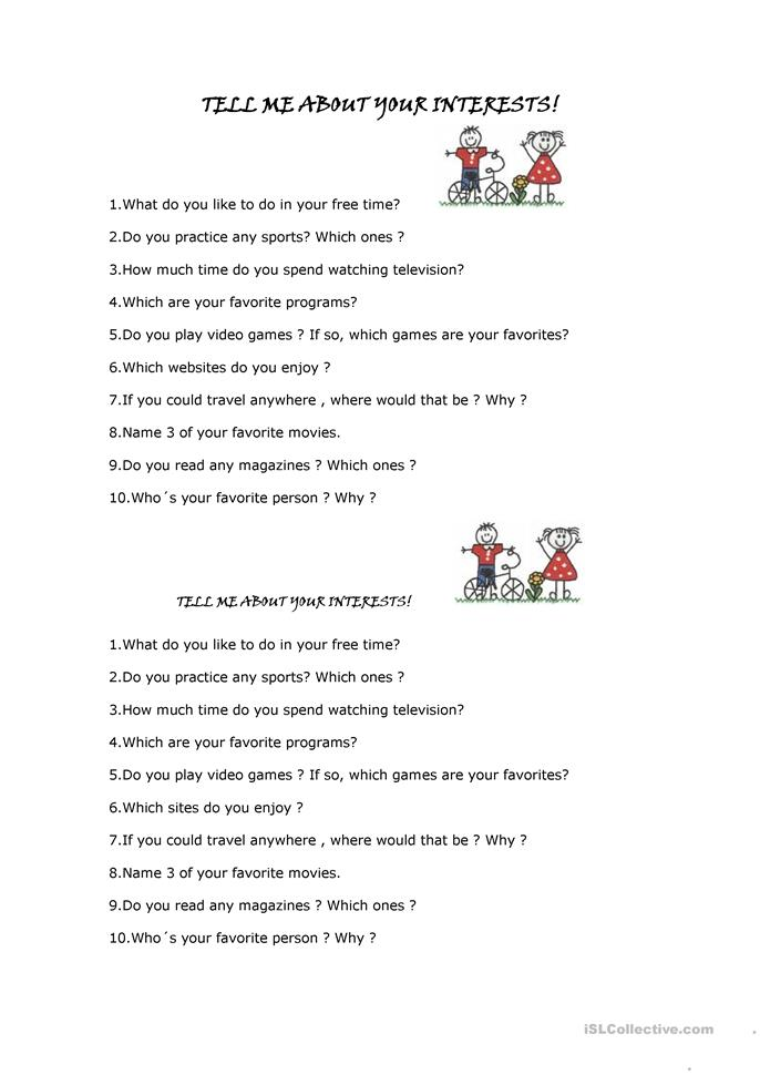 Tell me about your interests - ESL worksheets